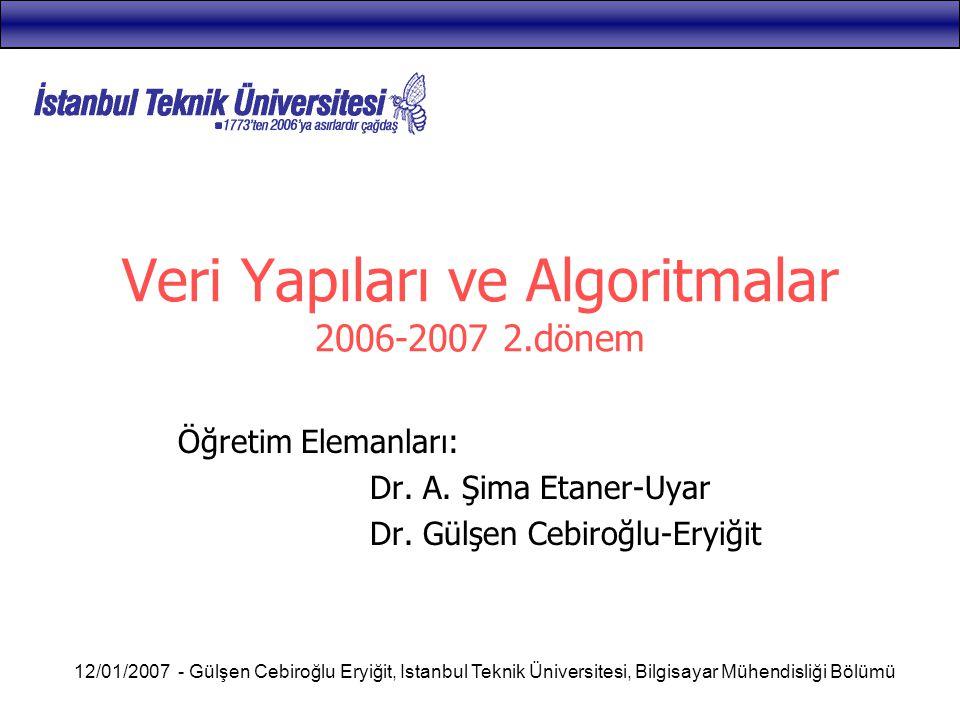Veri Yapıları ve Algoritmalar 2006-2007 2.dönem
