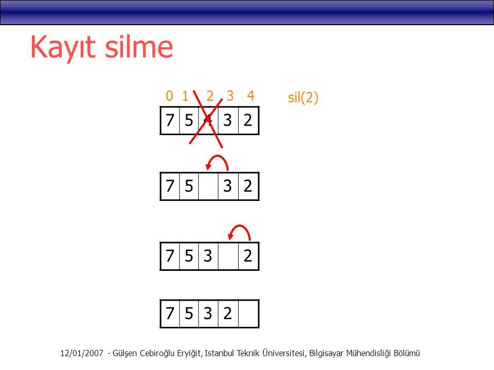Kayıt silme 0 1 2 3 4. sil(2) 7. 5. 4. 3. 2. 7. 5. 3. 2. 7. 5. 3. 2. 7. 5. 3.