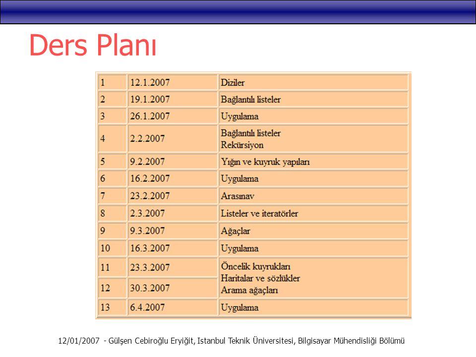Ders Planı 12/01/2007 - Gülşen Cebiroğlu Eryiğit, Istanbul Teknik Üniversitesi, Bilgisayar Mühendisliği Bölümü.