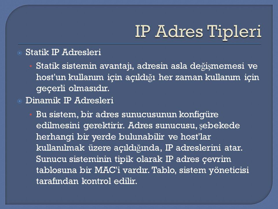 IP Adres Tipleri Statik IP Adresleri