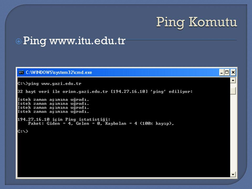 Ping Komutu Ping www.itu.edu.tr