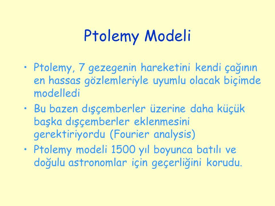 Ptolemy Modeli Ptolemy, 7 gezegenin hareketini kendi çağının en hassas gözlemleriyle uyumlu olacak biçimde modelledi.