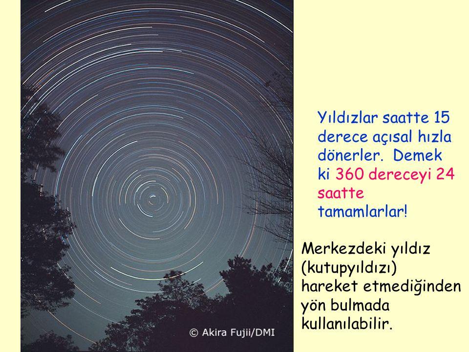 Yıldızlar saatte 15 derece açısal hızla dönerler