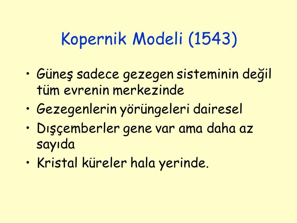 Kopernik Modeli (1543) Güneş sadece gezegen sisteminin değil tüm evrenin merkezinde. Gezegenlerin yörüngeleri dairesel.