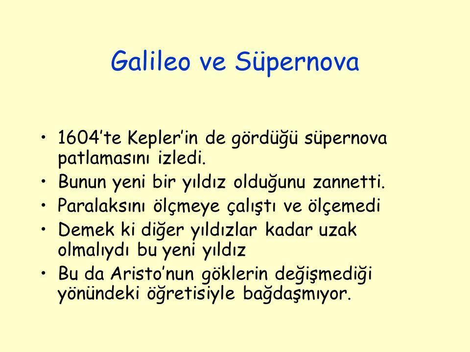 Galileo ve Süpernova 1604'te Kepler'in de gördüğü süpernova patlamasını izledi. Bunun yeni bir yıldız olduğunu zannetti.
