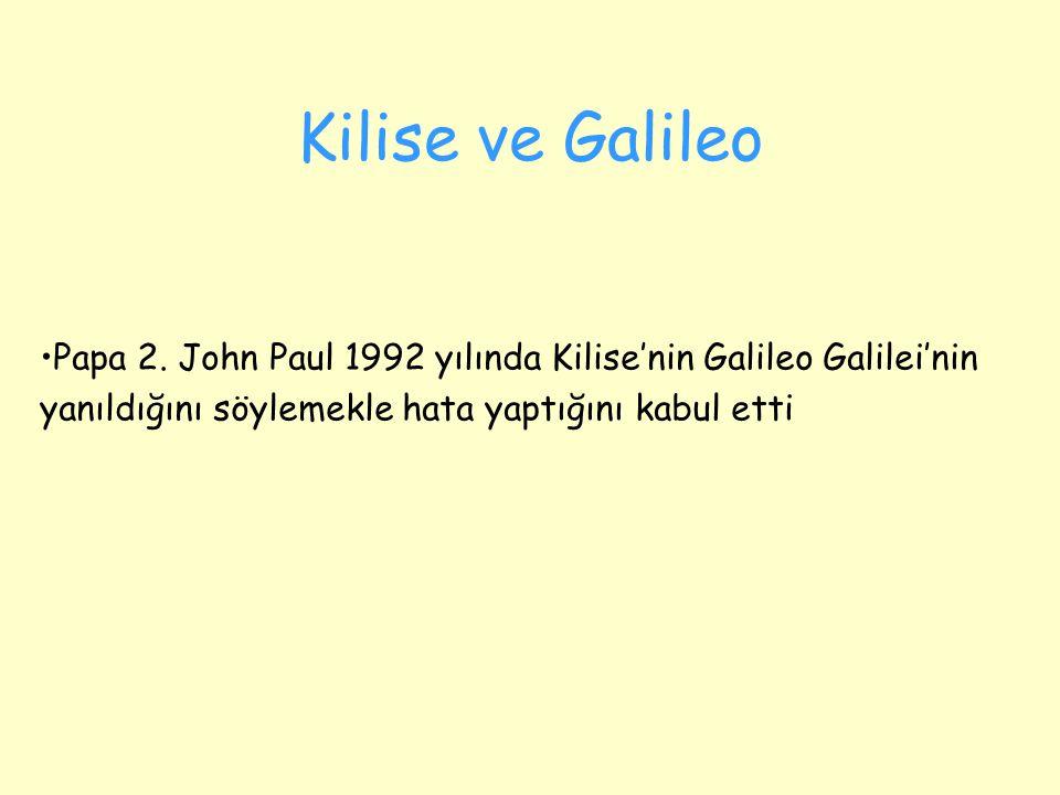Kilise ve Galileo Papa 2. John Paul 1992 yılında Kilise'nin Galileo Galilei'nin.
