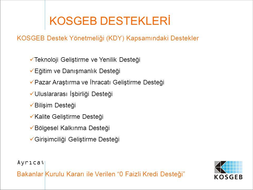 KOSGEB DESTEKLERİ KOSGEB Destek Yönetmeliği (KDY) Kapsamındaki Destekler. Teknoloji Geliştirme ve Yenilik Desteği.