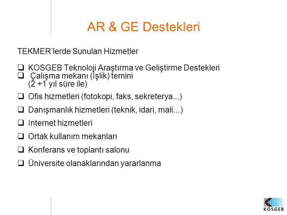 AR & GE Destekleri TEKMER'lerde Sunulan Hizmetler