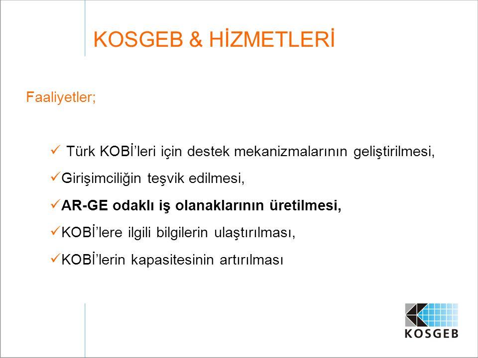 KOSGEB & HİZMETLERİ Faaliyetler;