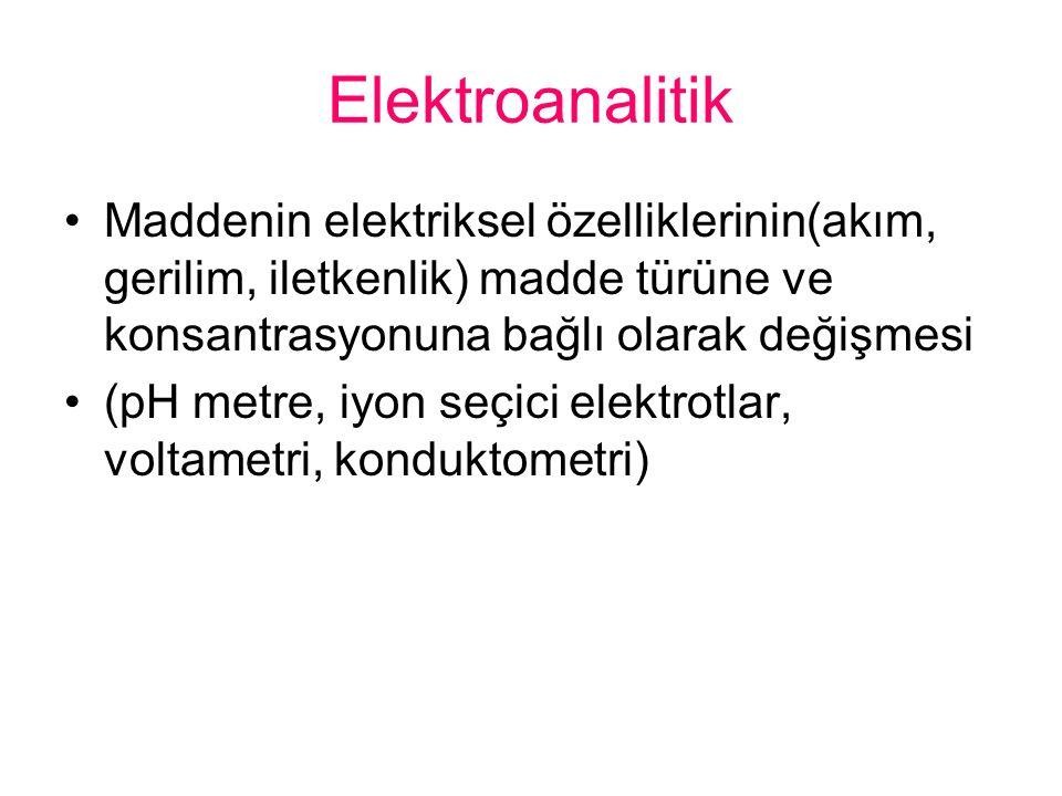Elektroanalitik Maddenin elektriksel özelliklerinin(akım, gerilim, iletkenlik) madde türüne ve konsantrasyonuna bağlı olarak değişmesi.