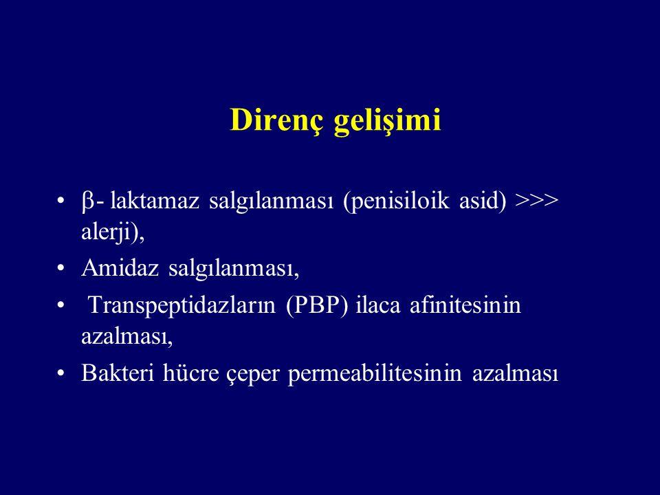 Direnç gelişimi - laktamaz salgılanması (penisiloik asid) >>> alerji), Amidaz salgılanması, Transpeptidazların (PBP) ilaca afinitesinin azalması,