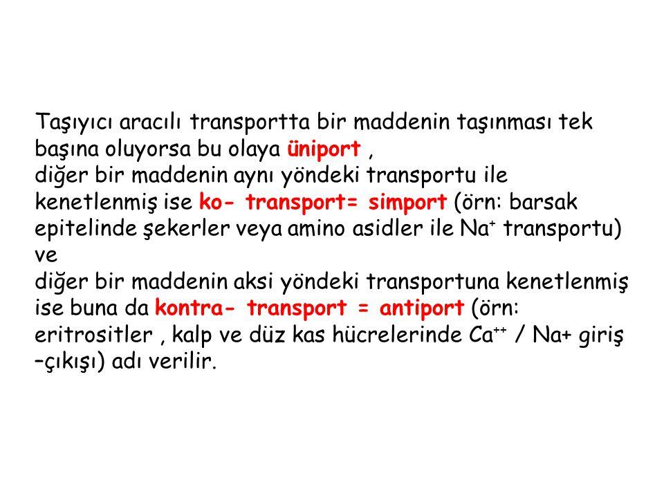 Taşıyıcı aracılı transportta bir maddenin taşınması tek başına oluyorsa bu olaya üniport , diğer bir maddenin aynı yöndeki transportu ile kenetlenmiş ise ko- transport= simport (örn: barsak epitelinde şekerler veya amino asidler ile Na+ transportu) ve diğer bir maddenin aksi yöndeki transportuna kenetlenmiş ise buna da kontra- transport = antiport (örn: eritrositler , kalp ve düz kas hücrelerinde Ca++ / Na+ giriş –çıkışı) adı verilir.