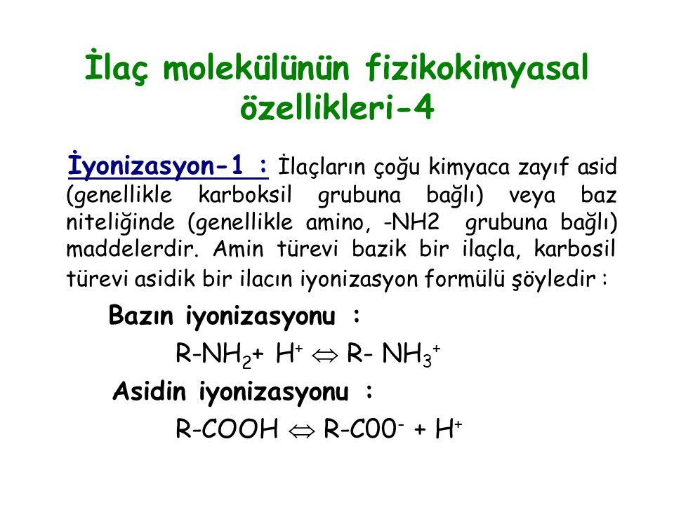 İlaç molekülünün fizikokimyasal özellikleri-4