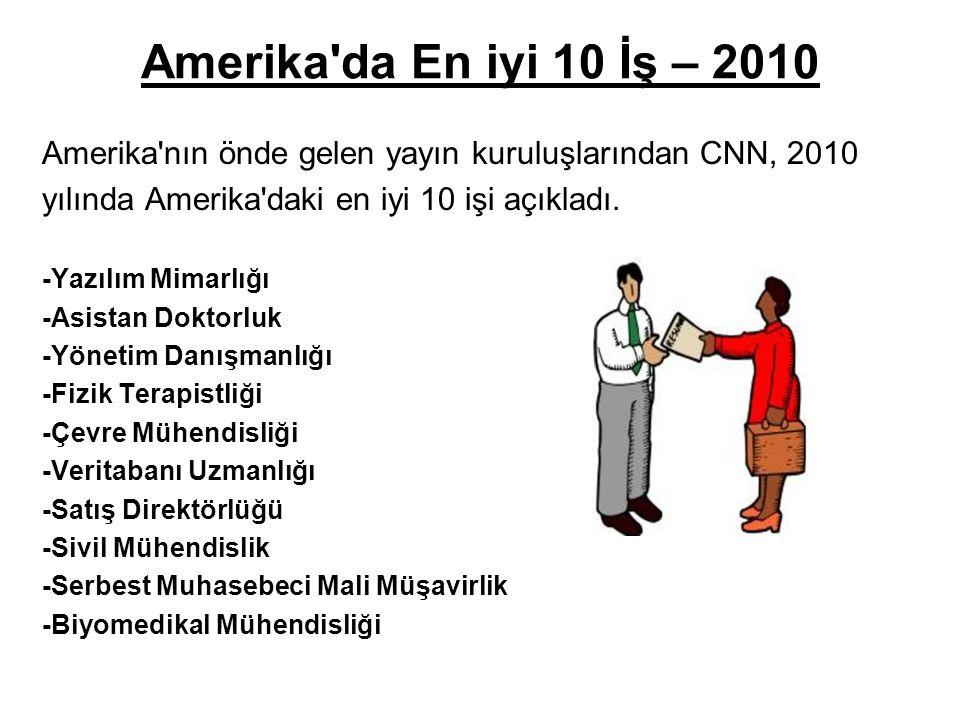 Amerika da En iyi 10 İş – 2010 Amerika nın önde gelen yayın kuruluşlarından CNN, 2010. yılında Amerika daki en iyi 10 işi açıkladı.