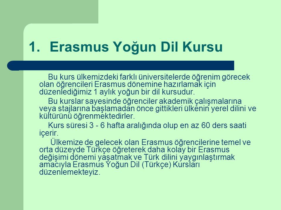 Erasmus Yoğun Dil Kursu