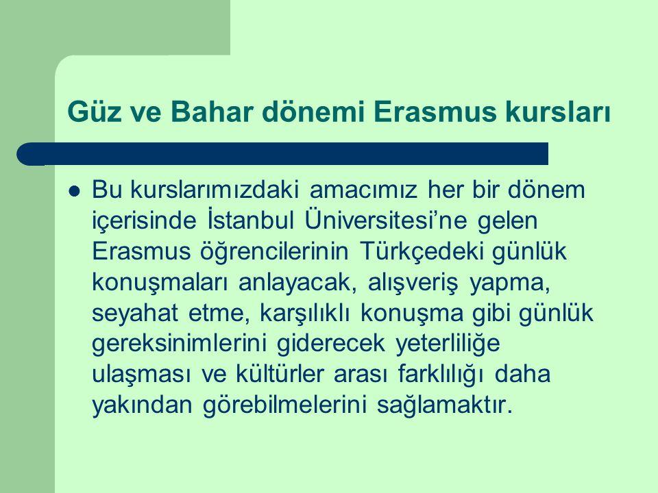 Güz ve Bahar dönemi Erasmus kursları