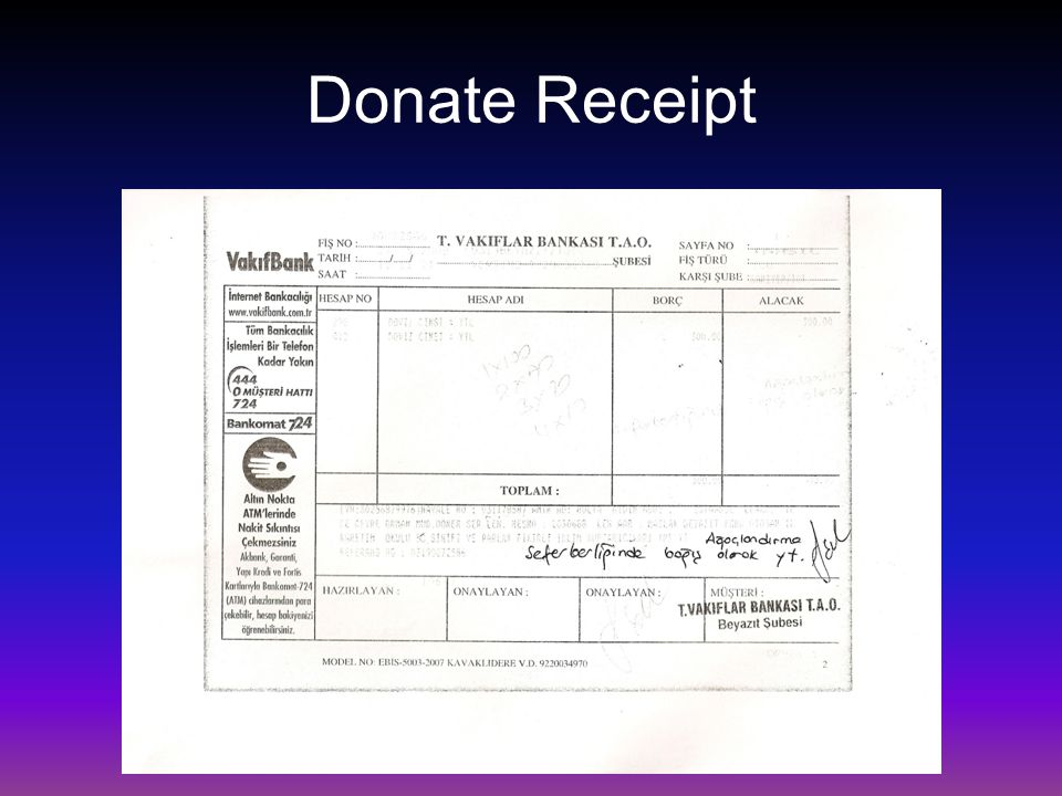 Donate Receipt