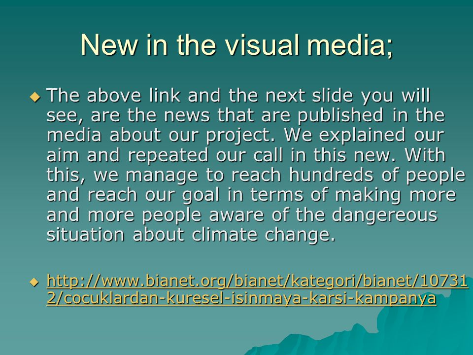 New in the visual media;
