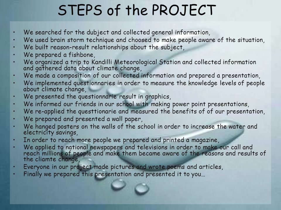 STEPS of the PROJECT We searched for the dubject and collected general information,