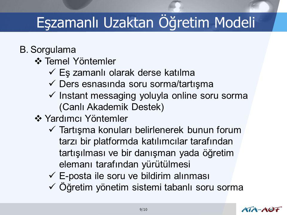 Eşzamanlı Uzaktan Öğretim Modeli