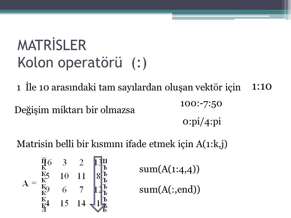 MATRİSLER Kolon operatörü (:)