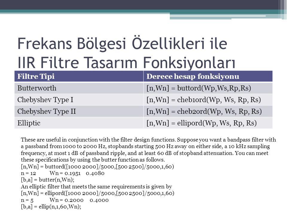 Frekans Bölgesi Özellikleri ile IIR Filtre Tasarım Fonksiyonları