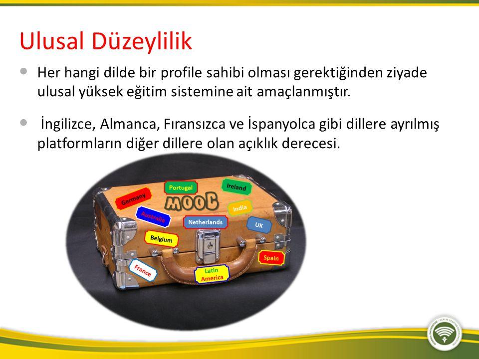 Ulusal Düzeylilik Her hangi dilde bir profile sahibi olması gerektiğinden ziyade ulusal yüksek eğitim sistemine ait amaçlanmıştır.