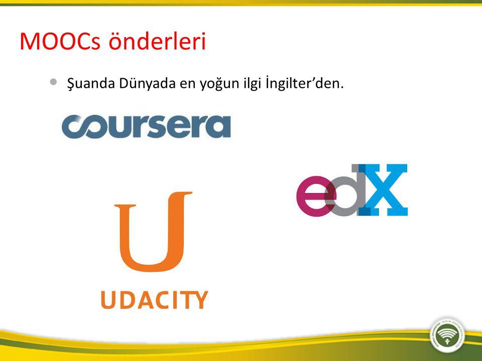 MOOCs önderleri Şuanda Dünyada en yoğun ilgi İngilter'den.