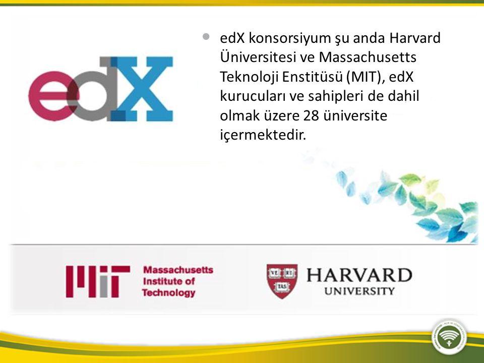 edX konsorsiyum şu anda Harvard Üniversitesi ve Massachusetts Teknoloji Enstitüsü (MIT), edX kurucuları ve sahipleri de dahil olmak üzere 28 üniversite içermektedir.