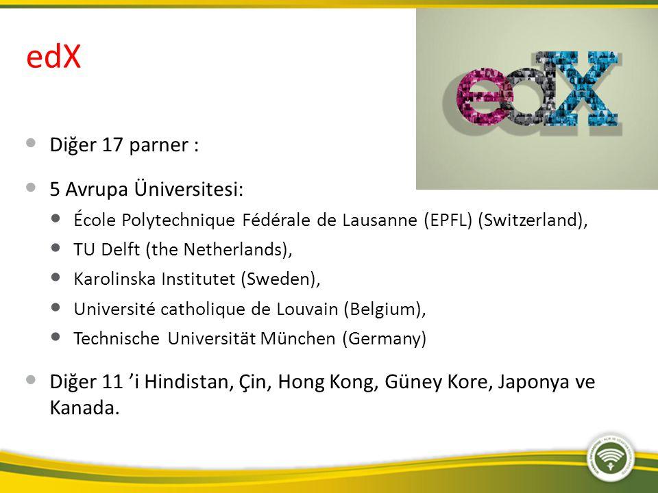 edX Diğer 17 parner : 5 Avrupa Üniversitesi: