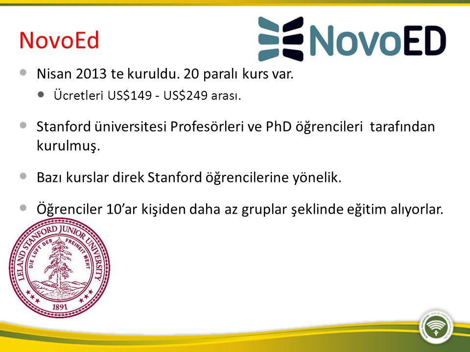 NovoEd Nisan 2013 te kuruldu. 20 paralı kurs var.