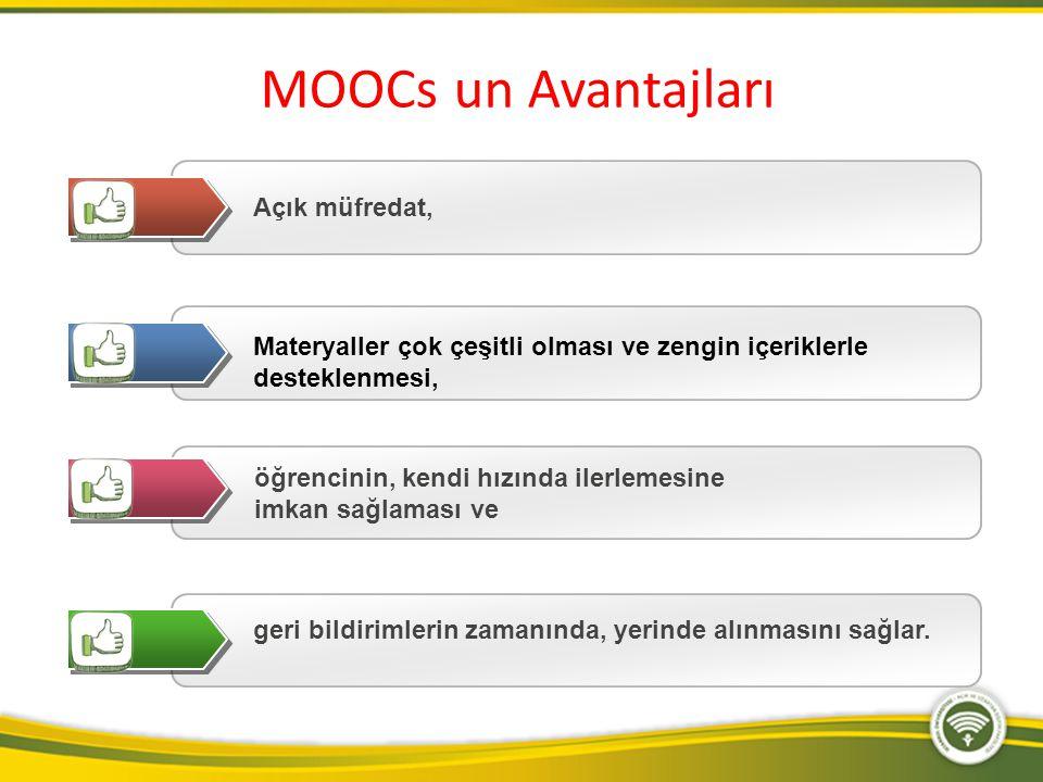 MOOCs un Avantajları Açık müfredat,