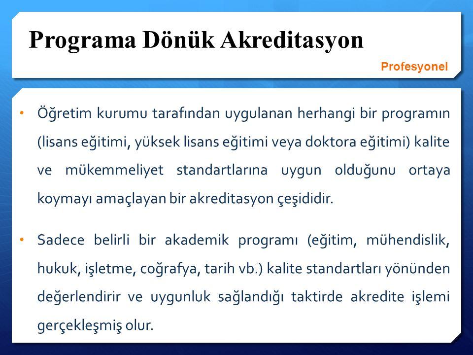 Program Akreditasyonu İçin Temel Standartlar