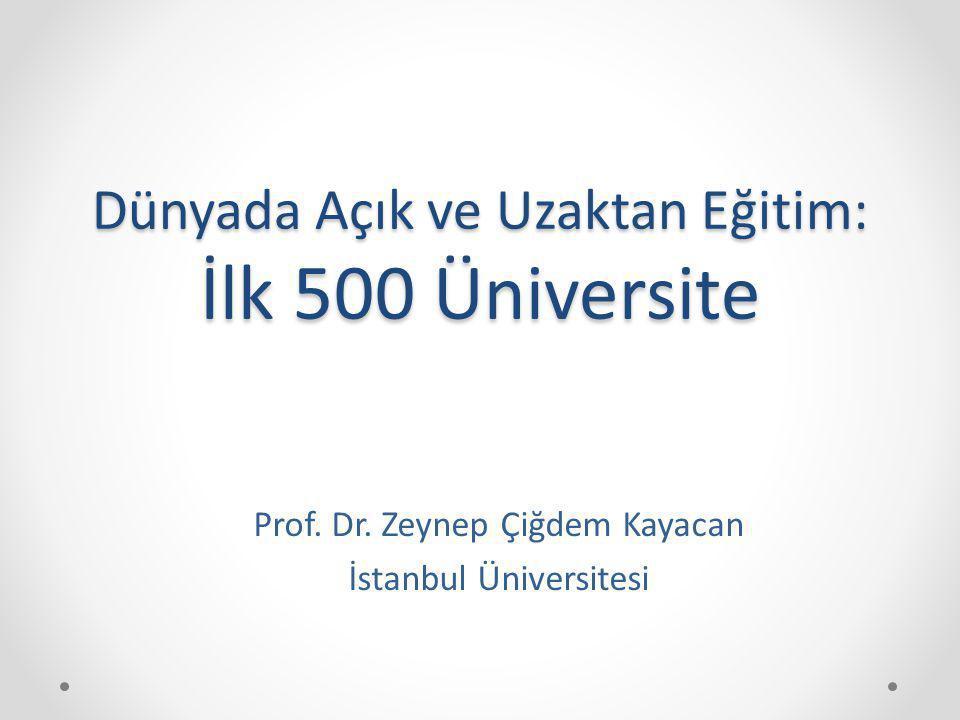 Dünyada Açık ve Uzaktan Eğitim: İlk 500 Üniversite