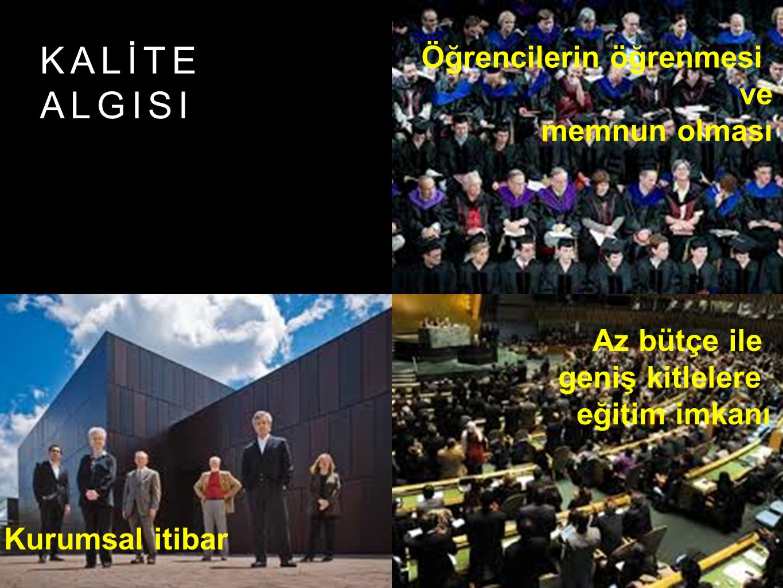 KALİTE ALGISI Öğrencilerin öğrenmesi ve memnun olması Az bütçe ile