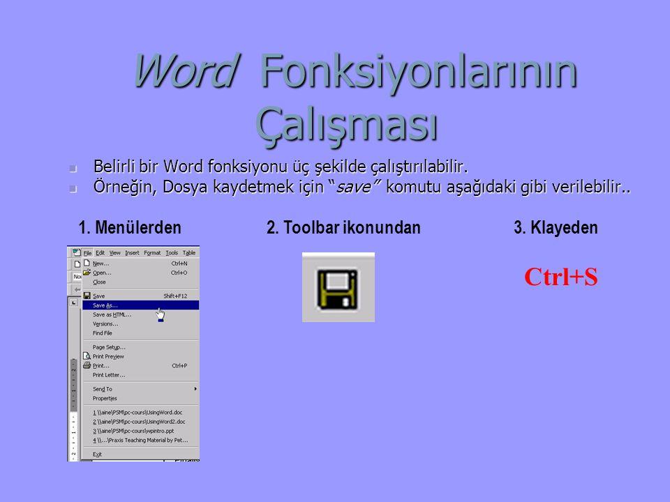 Word Fonksiyonlarının Çalışması