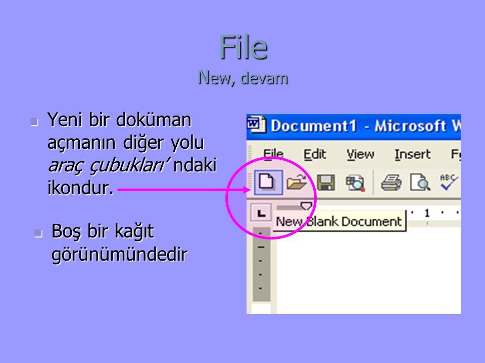 File New, devam Yeni bir doküman açmanın diğer yolu araç çubukları' ndaki ikondur.