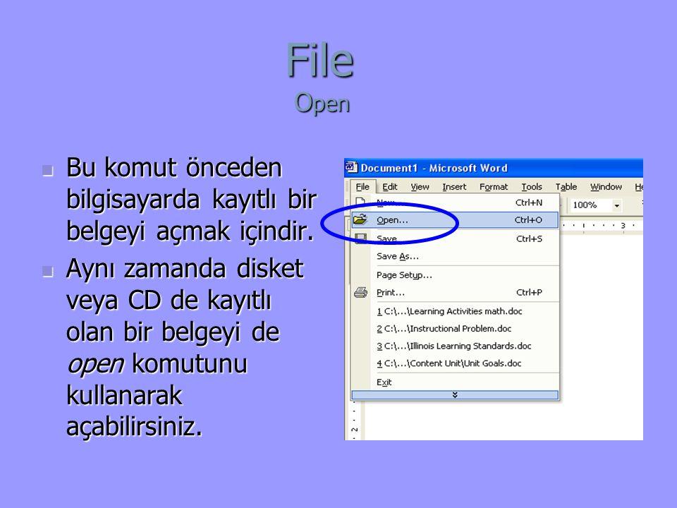 File Open Bu komut önceden bilgisayarda kayıtlı bir belgeyi açmak içindir.