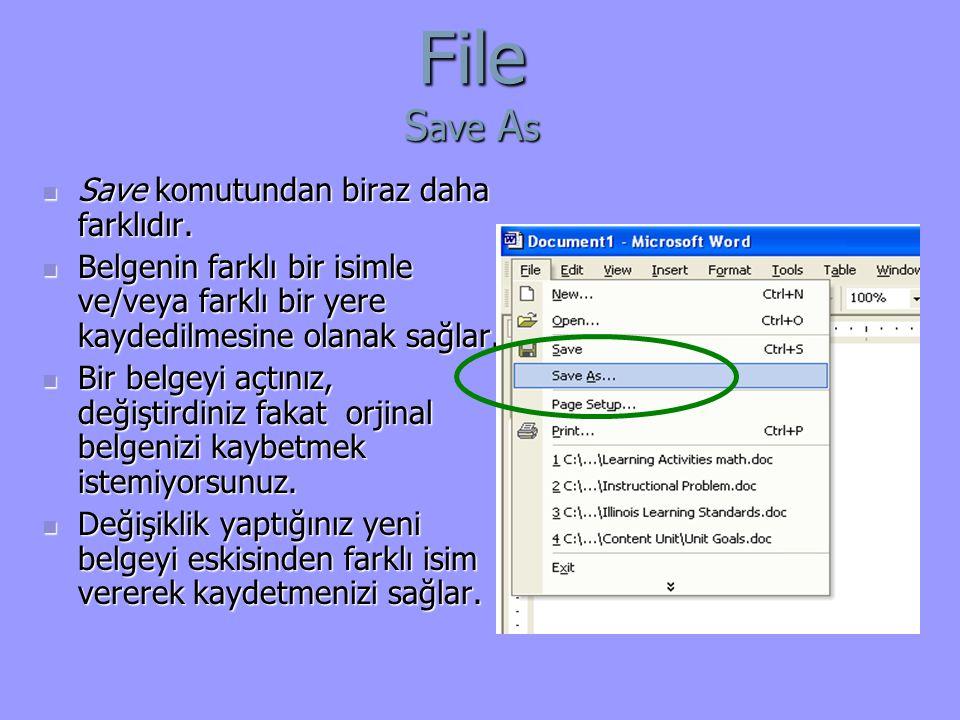 File Save As Save komutundan biraz daha farklıdır.