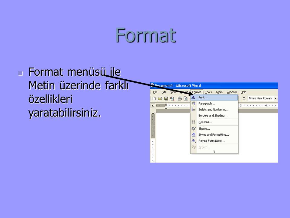Format Format menüsü ile Metin üzerinde farklı özellikleri yaratabilirsiniz.