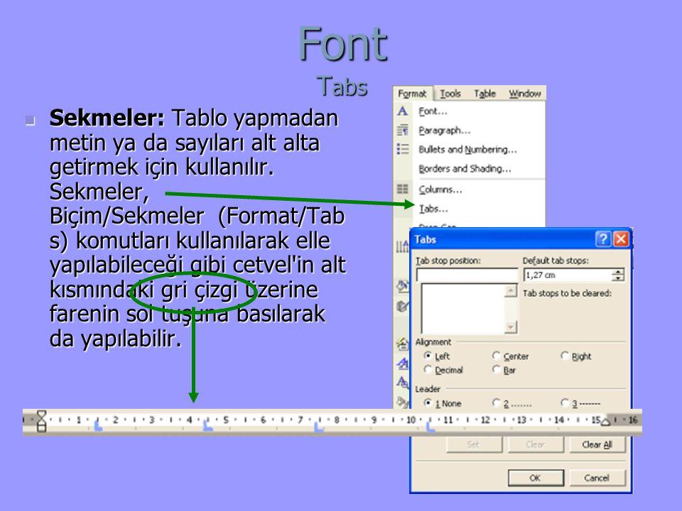Font Tabs
