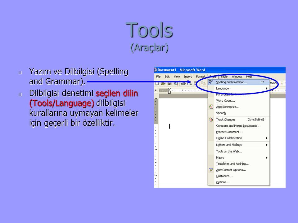 Tools (Araçlar) Yazım ve Dilbilgisi (Spelling and Grammar).