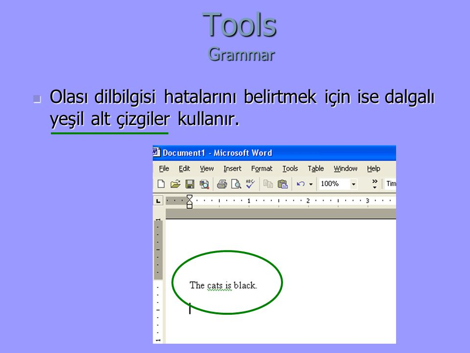 Tools Grammar Olası dilbilgisi hatalarını belirtmek için ise dalgalı yeşil alt çizgiler kullanır.