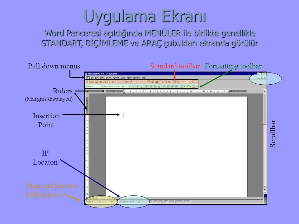 Uygulama Ekranı Word Penceresi açıldığında MENÜLER ile birlikte genellikle STANDART, BİÇİMLEME ve ARAÇ çubukları ekranda görülür.