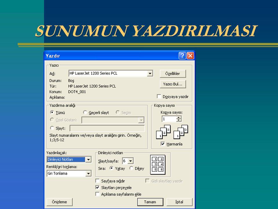 SUNUMUN YAZDIRILMASI