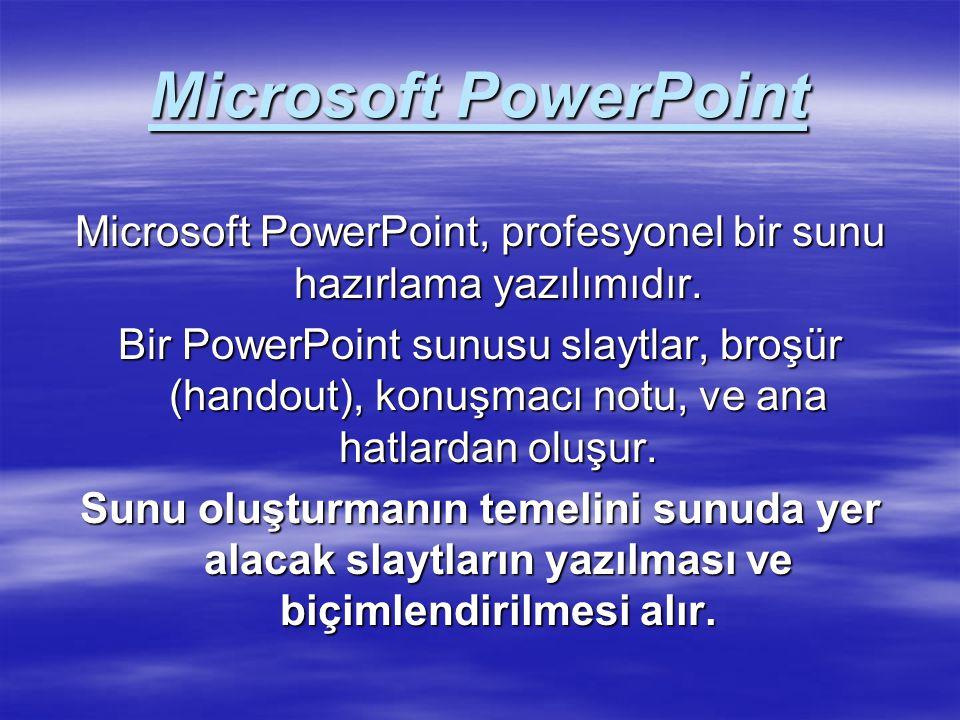 Microsoft PowerPoint, profesyonel bir sunu hazırlama yazılımıdır.