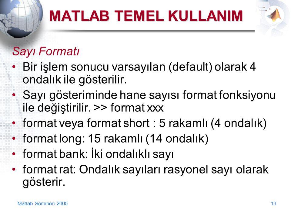MATLAB TEMEL KULLANIM Sayı Formatı