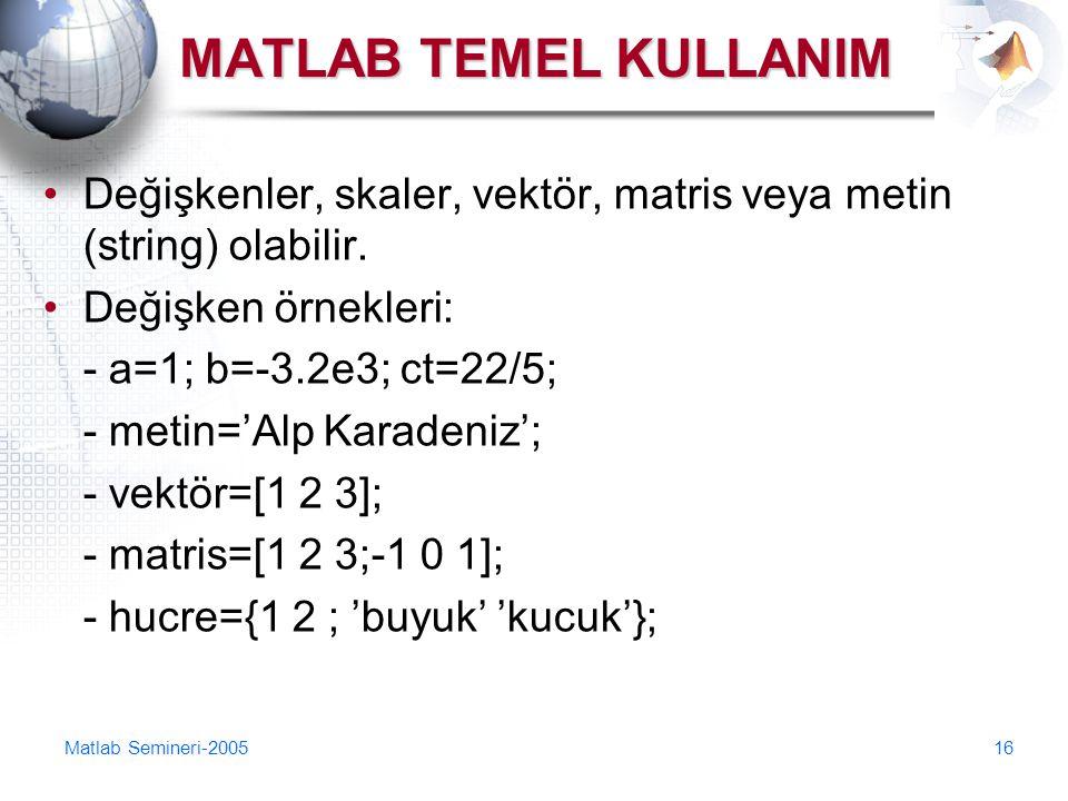 MATLAB TEMEL KULLANIM Değişkenler, skaler, vektör, matris veya metin (string) olabilir. Değişken örnekleri: