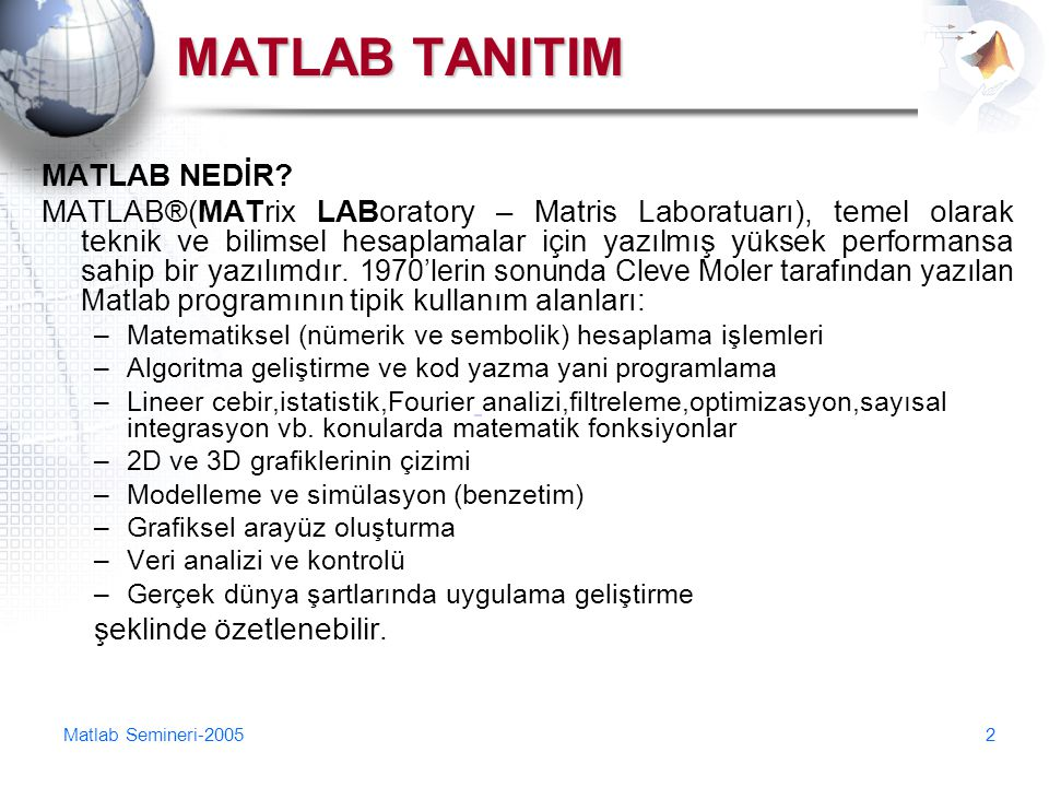 MATLAB TANITIM MATLAB NEDİR