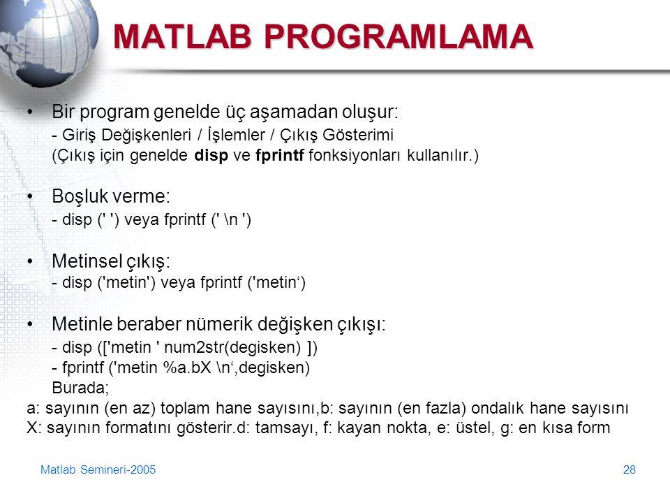 MATLAB PROGRAMLAMA Bir program genelde üç aşamadan oluşur:
